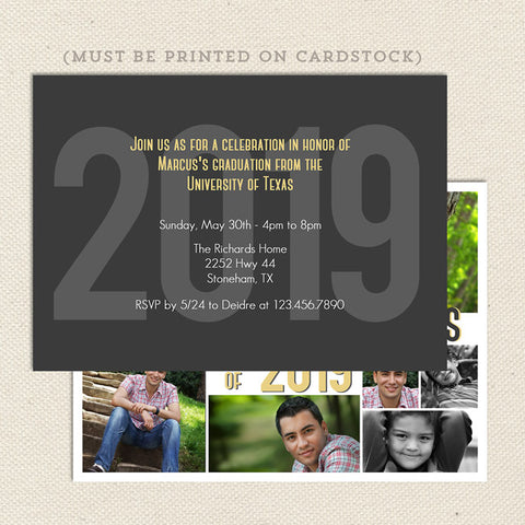 childhood collage graduation announcement back