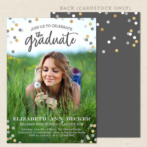 confetti graduation announcement