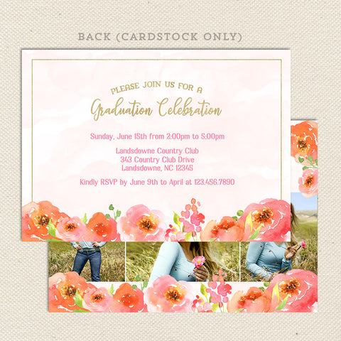 pink poppies floral graduation announcement back