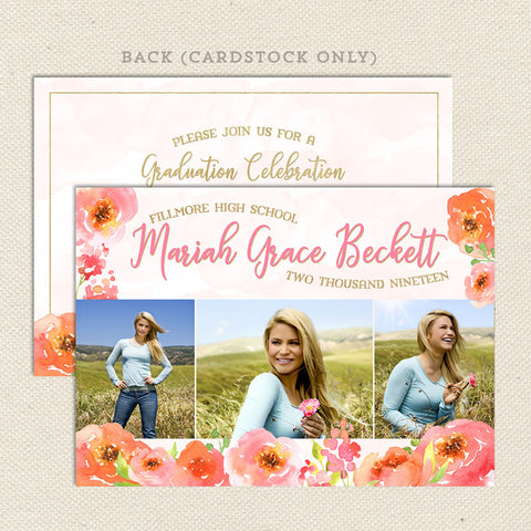 pink poppies floral graduation announcement