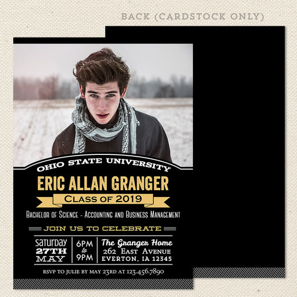 college grad graduation announcements black gold