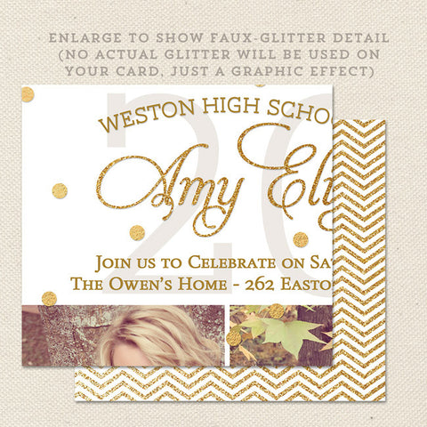 gold grad graduation announcements close up glitter effect