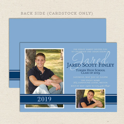 high school graduation announcement blue