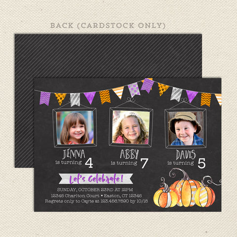 halloween bunting triple birthday invitation