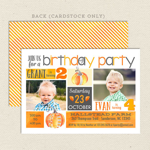 halloween harvest double birthday party invitation