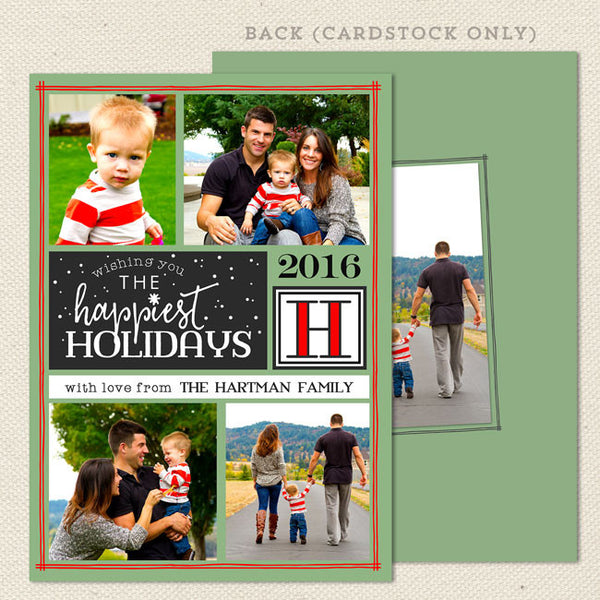 happiest holiday christmas card green