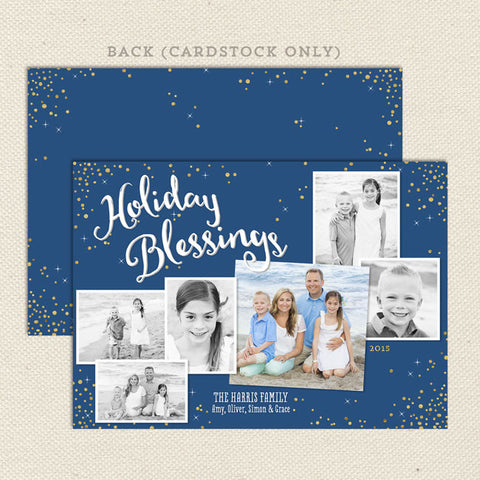 holiday blessings christmas card blue