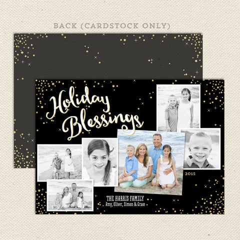 holiday blessings printable christmas card black gold