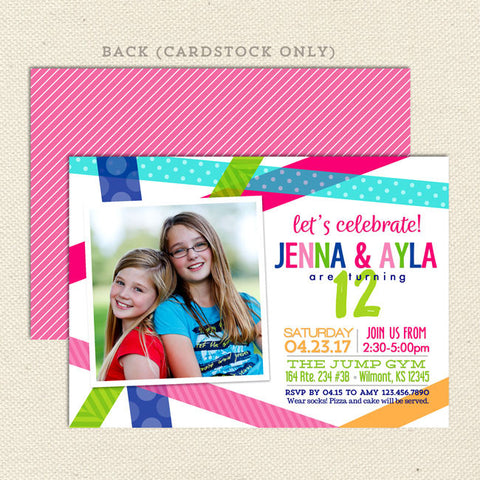 bright birthday bash girls joint party invitation