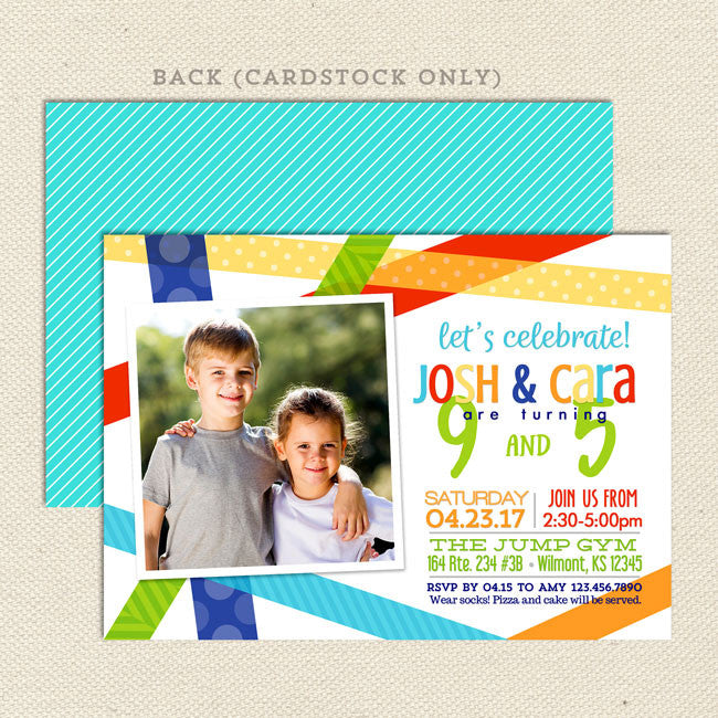 Bright Birthday Bash Joint Party Invitation