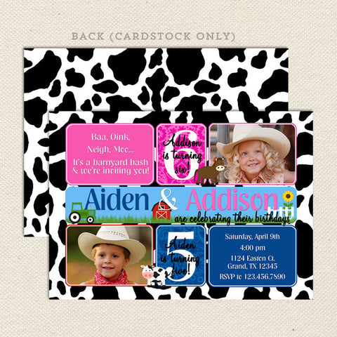 farm joint birthday invitation pink blue