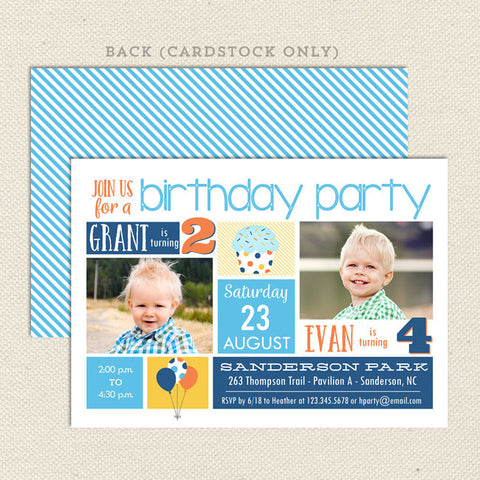 playful party boy joint birthday invitation