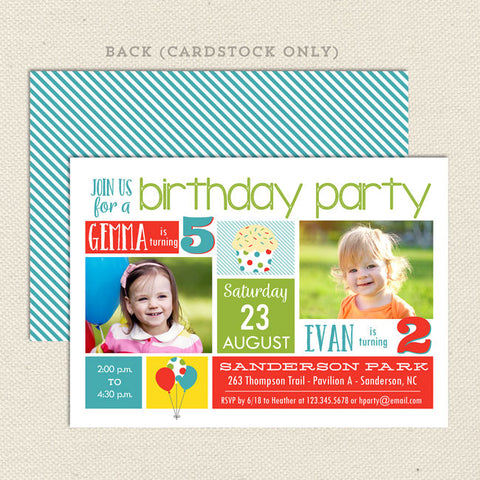 playful party joint birthday invitation