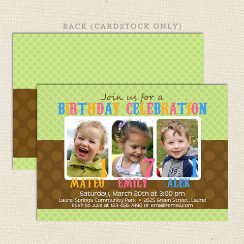 Three 3 child joint birthday party invitations green