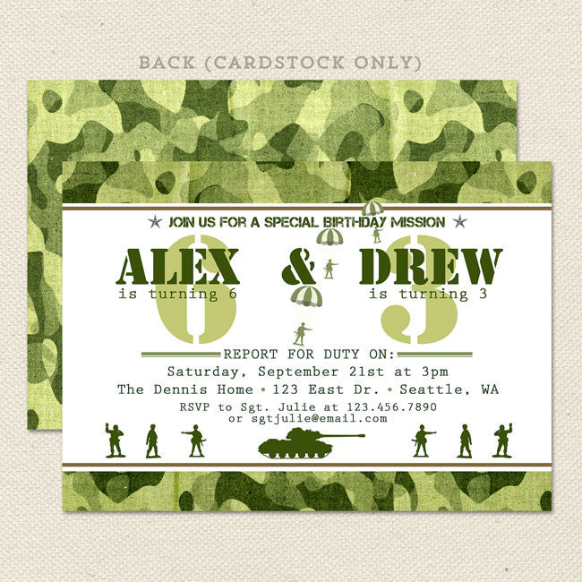 army camouflage joint birthday party invitations  lil' sprout, Birthday invitations