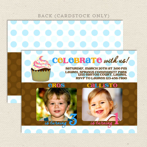 cupcake joint birthday party invitations