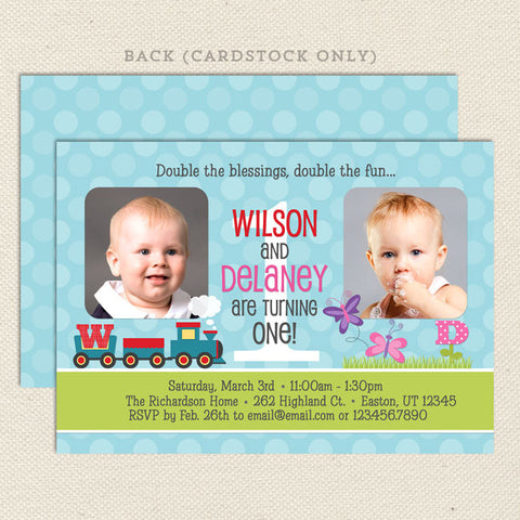Joint birthday party invitations lil sprout greetings butterfly train joint birthday party invitations stopboris Gallery