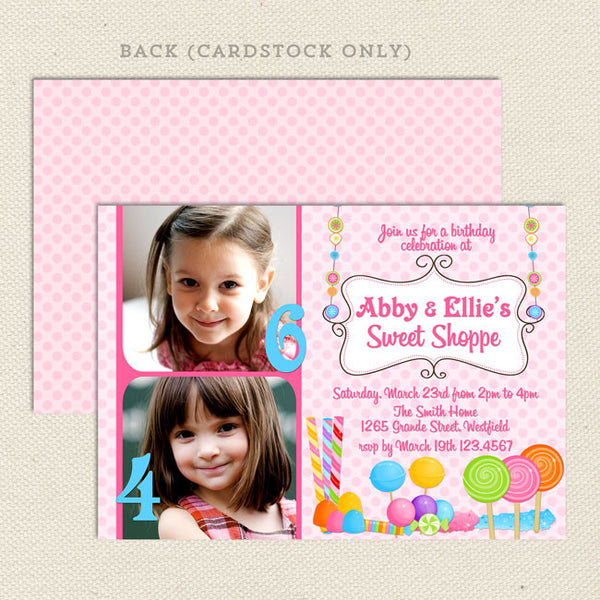 Sweet Shoppe Joint Birthday Party Invitations