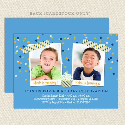 colorful confetti joint birthday party invitations boy