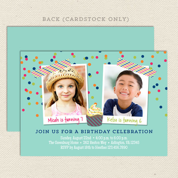 colorful confetti joint birthday party invitations neutral boy girl