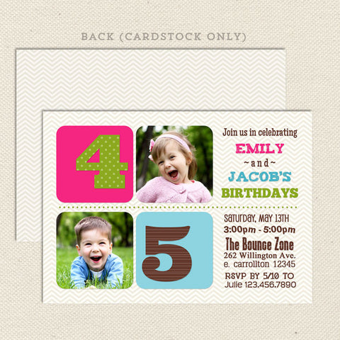 chevron joint birthday combined party invitations boy girl