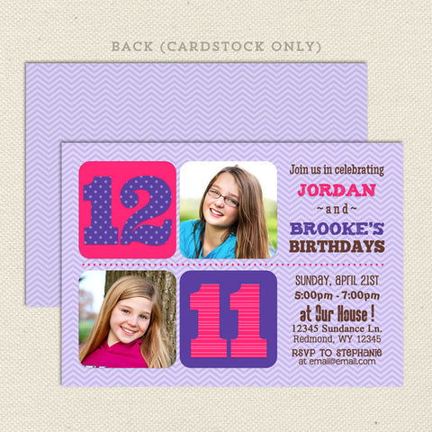 Chevron Joint Birthday Party Invitations Girl