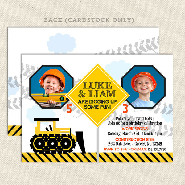 construction joint birthday party invitations