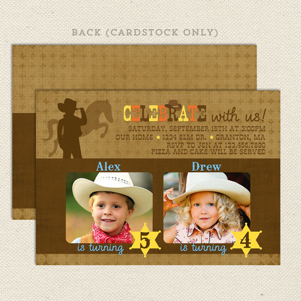 cowboy cowgirl joint birthday party invitations