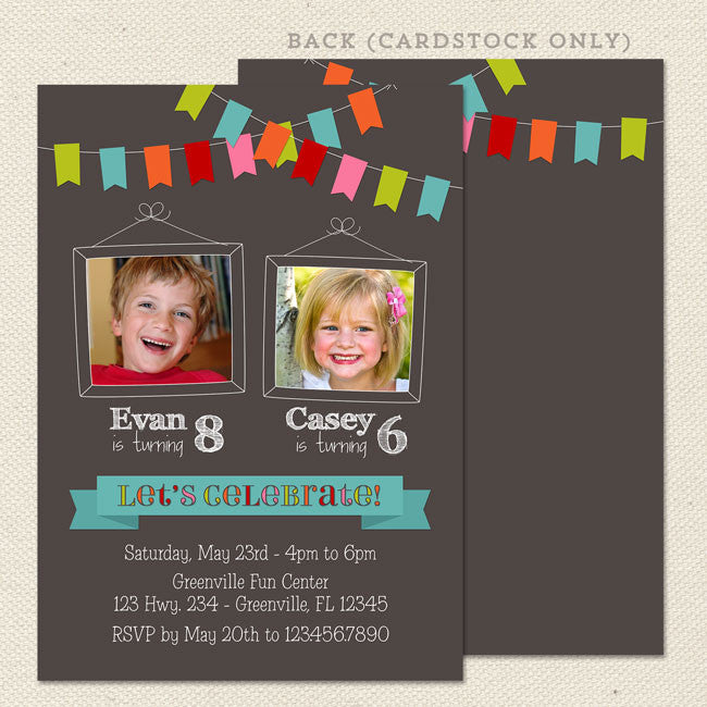 bunting joint birthday party invitations lil sprout greetings