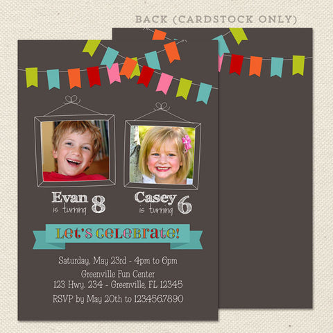 Joint birthday party invitations lil sprout greetings bunting joint birthday party invitations chalkboard twin stopboris Images