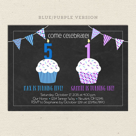 blue purple double cupcake joint invitation