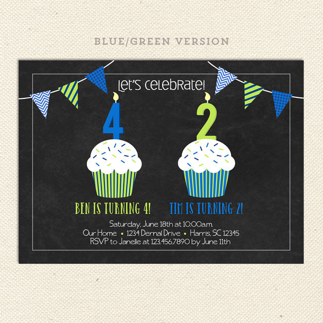 double cupcake joint birthday party invitations – lil' sprout, Birthday invitations