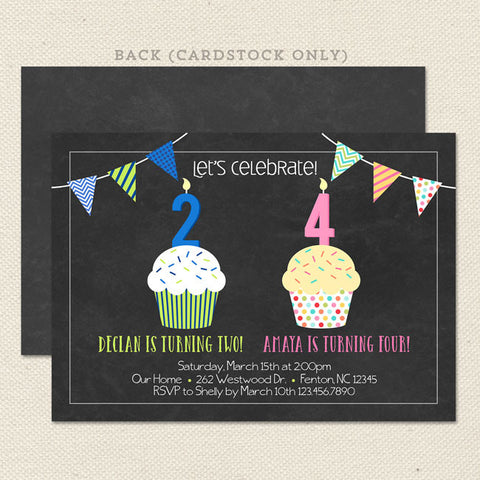 double cupcake joint birthday party invitations