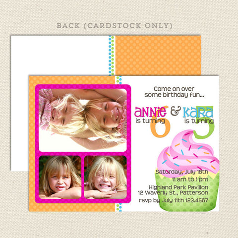 sweet cupcake joint birthday party invitations