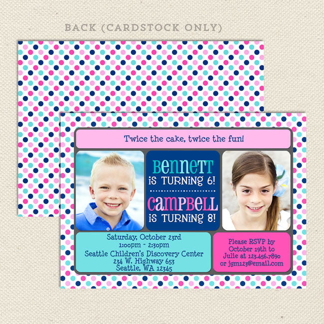 Double The Fun Joint Birthday Party Invitations Boy Girl