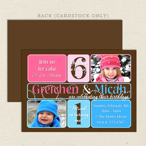 Joint birthday party invitations lil sprout greetings dual birthday party invitations boy girl pink blue filmwisefo