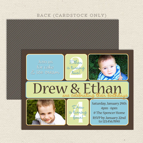 Dual Birthday Party Invitations Boy Blue Green