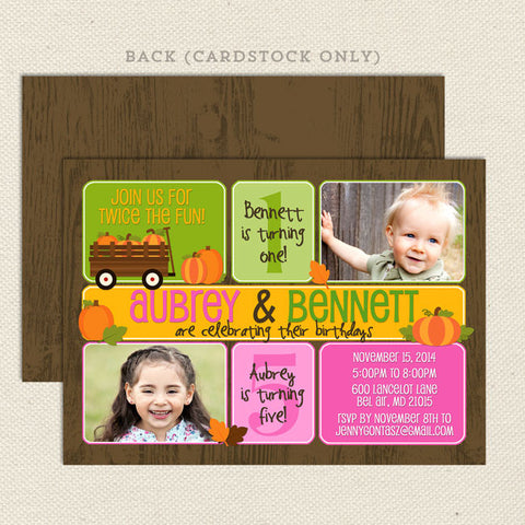 fall pumpkin patch joint birthday invitations