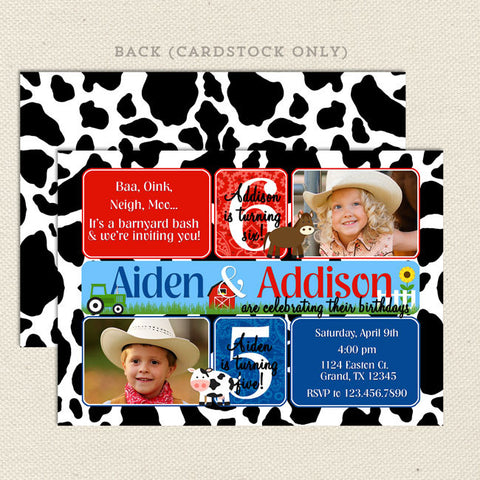 farm joint birthday party invitations