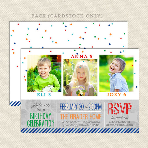 four times the fun joint birthday invitation 3 child