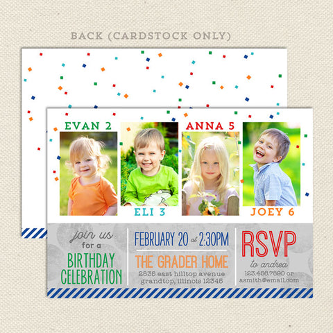four times the fun joint birthday invitation 4 child