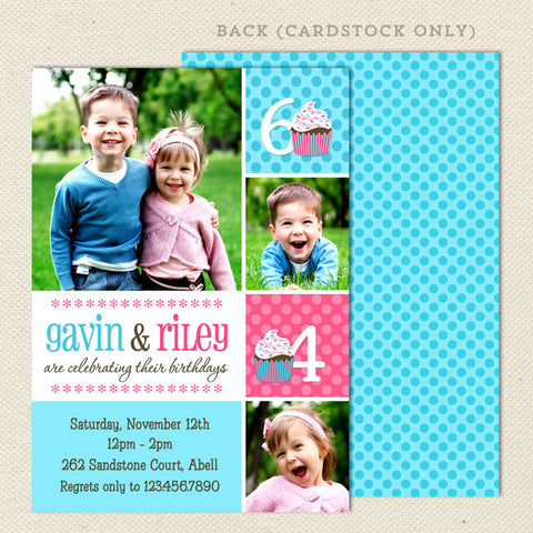 fun joint birthday party invitations pink blue