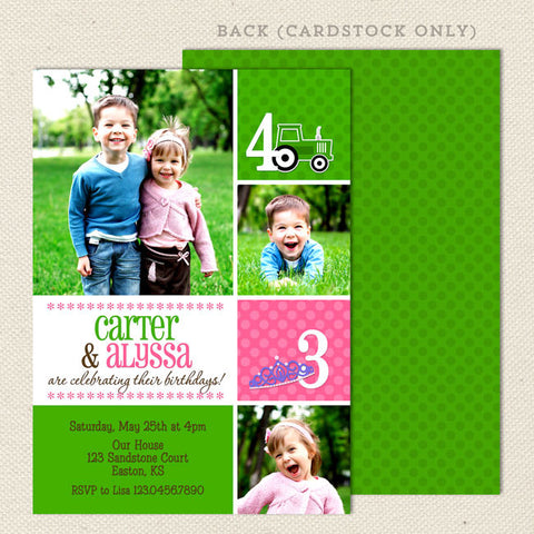 fun joint birthday party invitations pink green tractor princess