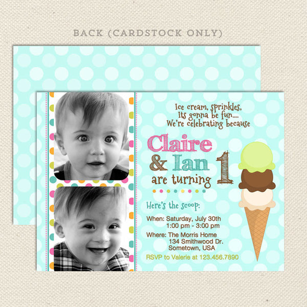 ice cream social joint birthday party invitations