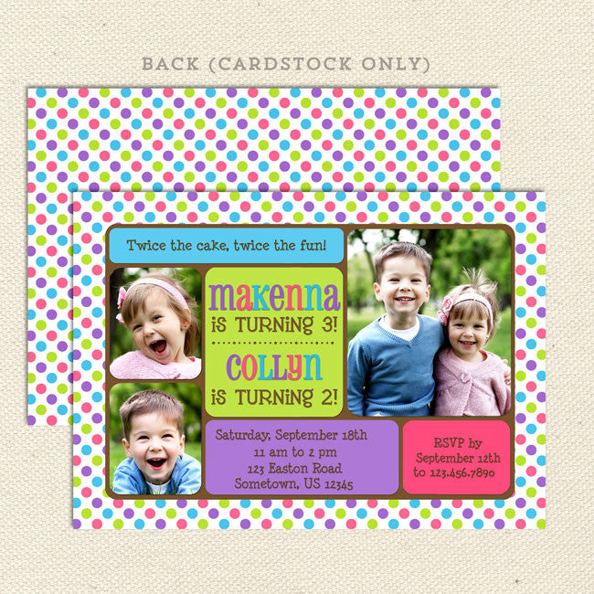 Lots Of Dots Joint Birthday Party Invitations Lil Sprout Greetings - Birthday party invitation girl
