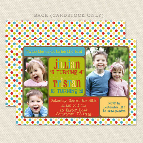 lots of dots joint birthday party invitations primary colors