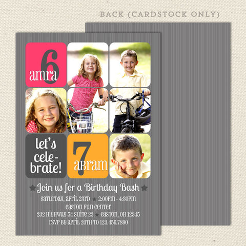 mod bash joint birthday party invitations