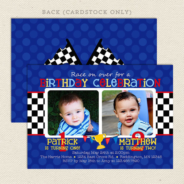 race car joint birthday party invitations