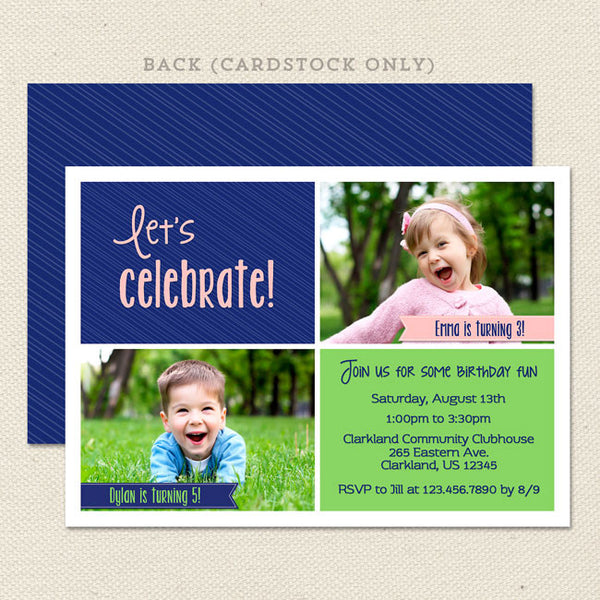 shared celebration joint birthday invitations blue green