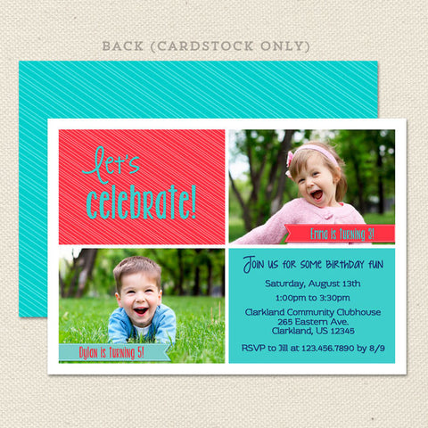 shared celebration joint birthday invitations coral turquoise